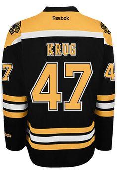 Boston Bruins Torey KRUG  47 Official Home Reebok Premier Replica NHL  Hockey Jersey (HAND 2140fd814