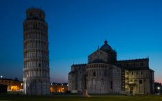 Download wallpapers Leaning Tower of Pisa, night, Pisa, sights, Italy