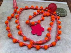 Flower Pink and ORANGE Vibrant Bright CHEERFUL by wandandwear, $12.00