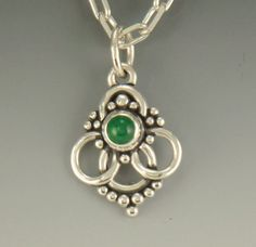 Emerald Cabochon Sterling Silver Pendant- Handmade One of a Kind Artisan Jewelry Made in the USA with Free Domestic Shipping - Denim and Diamonds Jewelry Mens Silver Necklace, Sterling Silver Necklaces, Silver Earrings, Silver Ring, Silver Jewellery, Silver Bracelets, Metal Jewelry, Jewelry Shop, Jewelry Ideas