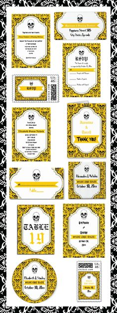 #Skulls #damask #yellow, #black #pattern & #banner #Halloween #Gothic #wedding #invitations and matching #stationery. #weddings, #bride, #invites  See more designs http://www.zazzle.com/weddings_?rf=238228936251904937=zBookmarklet