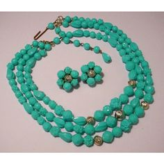 Now On Sale Western Germany Turquoise Lucite 3 by MartiniMermaid ($41) found on Polyvore