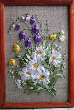 Wonderful Ribbon Embroidery Flowers by Hand Ideas. Enchanting Ribbon Embroidery Flowers by Hand Ideas. Ribon Embroidery, Ribbon Embroidery Tutorial, Floral Embroidery Patterns, Hand Embroidery Flowers, Hand Embroidery Designs, Embroidery Stitches, Embroidery Kits, Machine Embroidery, Ribbon Art