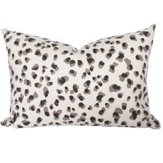 """A saucy, black, white and grey snow leopard pillow - because everyone needs an animal print in their life! Size: 14"""" x 20""""Made in Canada 100% Cotton Concealed Y"""