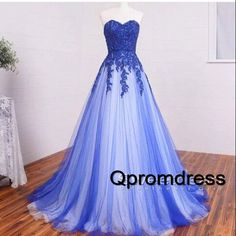 Ball gowns wedding dress, 2016 elegant blue lace long prom dress
