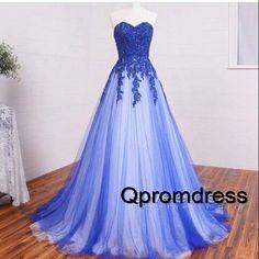 Ball gowns wedding dress, 2016 elegant blue lace long prom dress