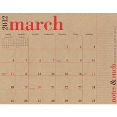 Recycled Paper Wall Calendar