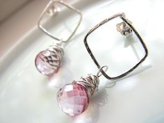 Pink Mystic Quartz Dangle Post Earrings....so cute!