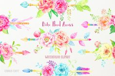 Watercolor clipart boho floral arrows, pink, yellow and purple peony arrows for instant download, wedding invitations by CornerCroft on Etsy