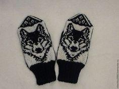 """Варежки, митенки, перчатки ручной работы. Ярмарка Мастеров - ручная работа Мужские варежки """"Волк"""". Handmade."""