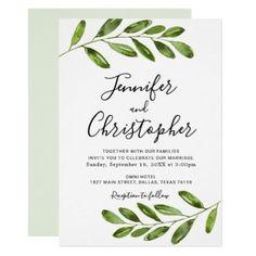 Rustic Watercolor Greenery Wedding Invitations - rustic wedding marriage love cyo #weddinginvitation
