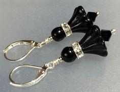 Vintage Black Flower Glass Bead Sterling Silver Earrings #VintageJewelleryCreations
