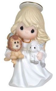 Peace on Earth - Precious Moments angel holding lion and lamb