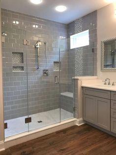 53 Cozy Farmhouse Master Bathroom Remodel Ideas Master Bathroom Shower, Bathroom With Wood Floor, Shower Ideas Bathroom, Wood Tile Shower, Master Bathrooms, Bathroom Mirrors, Shower Floor, Bathroom With Gray Tile, White Bathroom