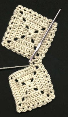 """Flat Braid"" Square Joining Method for granny squares. Creates a lovely edging! This is my favorite method of joining squares, a simple ch 3 interlocking, done as the last rnd on the squares. Join as you go, could not be easier."