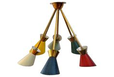 described by Raji RM Midcentury multicolor metal chandelier reminiscent of Boris Lacroix. Wired and in working condition. Boris Lacroix-Style Light Fixture on OneKingsLane.com