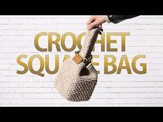 Crochet Square Bag - Free Pattern - Design Peak Crochet Clutch Pattern, Crochet Coaster Pattern, Bag Pattern Free, Crochet Tote, Crochet Handbags, Afghan Crochet Patterns, Crochet Purses, Free Crochet, Japanese Knot Bag