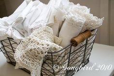 wire basket white linens