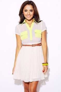 1015store.com-Lime green/beige pleated chiffon belted dress-$15.00