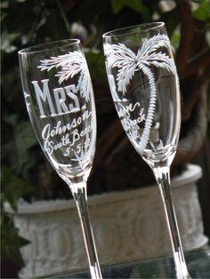 Beach Theme Destination Wedding Champagne Flutes. by glassgirljen
