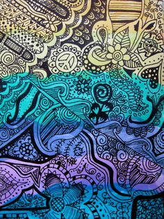 love doodle art  Colour background first. Before using felt tips