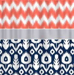With almost lime walls.. https://www.etsy.com/listing/192237878/coral-ikat-chevron-with-navy-ikat-silver