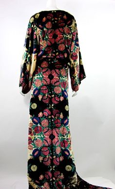 1920s Art Deco silk velvet robe | From a collection of rare vintage evening dresses at http://www.1stdibs.com/fashion/clothing/evening-dresses/