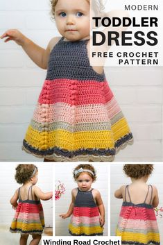Crochet this beautiful baby toddler dress. Available in 3 sizes. Free crochet pattern by Winding Road Crochet. #crochet #crochetdress #crochettoddlerdress