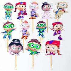 FREE Super Why Birthday Party cupcake toppers banner and water