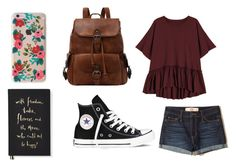 """School look"" by jane-cxx ❤ liked on Polyvore featuring Hollister Co., Rifle Paper Co, Converse and Kate Spade"