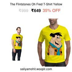 Best Quality Guaranteed   Free Returns   COD Avalilable   Exclusively on MyStore   More details: Designed by one of our in-house artists checkout Oh Fred T-Shirt made from 100% organic cotton and printed with eco-solvent water based inks. Wear this Yellow cotton tee, and the design from our The Flintstones t-shirt collection is surely going to put you at the centre of all attention. Brought to you by We The Chic™ (pronounced as sheeq) - An Indian private label fashion brand in the business…
