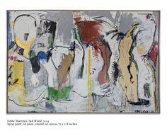 Sick World, 2014, Spray paint, oil paint, enamel on canvas, 6 x 9 ft