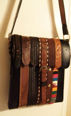 Belt Shoulder Bag ~ Salvation Army store was loaded with belts the other day and I had no project for them.  Now I do!