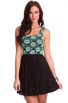 57fa310c2233 Aqua Black Floral Embroided Pleated Skirt Sexy Party Dress   Amiclubwear  sexy dresses