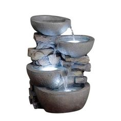 Fountain Cellar Modern Bowls Fountain with LED Lights-FCL059 at The Home Depot