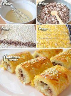 Baklavalık Yufkadan Soda Mince Pies Rezept, wie man – My Tartessales Turnip Recipes, Pie Recipes, Gourmet Recipes, Healthy Recipes, Mince Pies, Borek Recipe, Food Words, Perfect Food, Food Print