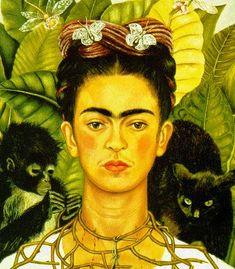 This Freida Kahlo self-portrait includes a black cat on her shoulder.