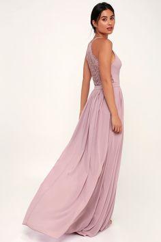 0d70f011d201 Love Spell Dusty Lavender Lace-Back Maxi Dress