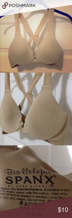 Spanx Bra-llelujah! Demi bra Spanx bra-llelujah! beige front latch underwire Demi bra size 34A. Bra has very mild piling around band, but is otherwise in excellent condition! SPANX Intimates & Sleepwear Bras