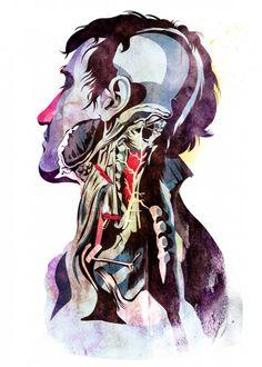 Alvaro Tapia Hidalgo rivisita e reinterpreta vecchi atlanti di anatomia con un tratto contemporaneo e grafica vettoriale, trasformando elementi scientifici in composizioni pop.  More @ www.collater.al/arts/alvaro-tapia-hidalgo-anatomy