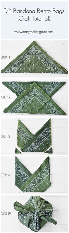 DIY Bandana Bento Bags {Craft Tutorial - Lunch Bag - Ideas of Lunch Bag - A step-by-step sewing tutorial showing you how to make your own adorable Bento Bag style lunch bags from everyday bandanas! No cutting no measuring. Easy as Diy Sewing Projects, Craft Tutorials, Sewing Hacks, Sewing Tutorials, Sewing Crafts, Sewing Patterns, Bag Tutorials, Bag Patterns, Furoshiki
