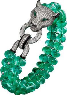 The best diamond bracelets: Panther Cartier Bracelet High Jewelry Cartier Armband, Cartier Diamond Bracelet, Emerald Bracelet, Cartier Jewelry, Emerald Jewelry, High Jewelry, Modern Jewelry, Turquoise Bracelet, Vintage Jewelry