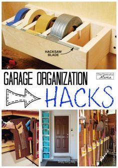 DIY Garage Organization Hacks. Super helpful tips and ideas on how to keep the home garage  organized.