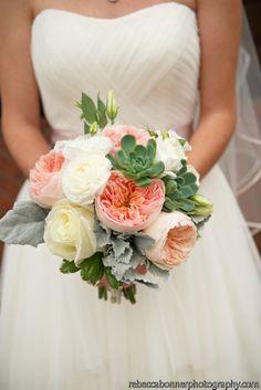 Bridal bouquet with succulents, Rebecca Bonner Photography
