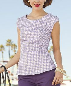 Another great find on #zulily! Purple Houndstooth Roller Rink Top by Shabby Apple #zulilyfinds