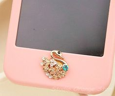 1PC Bling Crystal Nice Swan Apple iPhone Home Button Sticker