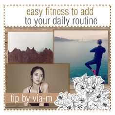 """""""easy fitness to add to your daily routine"""" by ocean-waves-tips ❤ liked on Polyvore featuring art and tipsbyvia"""