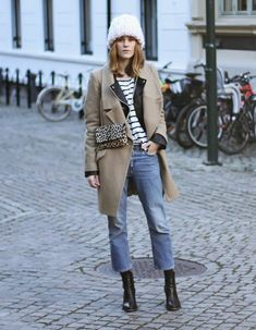 chic way to wear socks with cropped jeans and boots