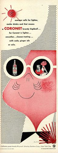 Coronet Brandy by Paul Rand. One of my all-time fave designers.