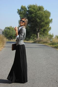 Button up with long skirt & sweater